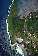 Kilauea Volcano, Kalapana, lava burning homes, Hawaii, USA<br />