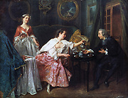 The Four Times of Day: Morning', 1741. Oil on canvas.Nicolas Lancret (1690-1743) French painter. Lady  half dressed in the middle of her toilette assisted by here maid, pours coffee for the visiting cleric. Domestic Interior Boudoir