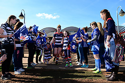 Mascot walks out with players - Mandatory by-line: Dougie Allward/JMP - 26/03/2017 - RUGBY - Cleve RFC - Bristol, England - Bristol Ladies v Wasps Ladies - RFU Women's Premiership