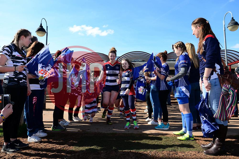 Mascot walks out with players - Mandatory by-line: Dougie Allward/JMP - 26/03/2017 - RUGBY - Cleve RFC - Bristol, England - Bristol Ladies v Wasps Ladies - RFU Women's Premiership