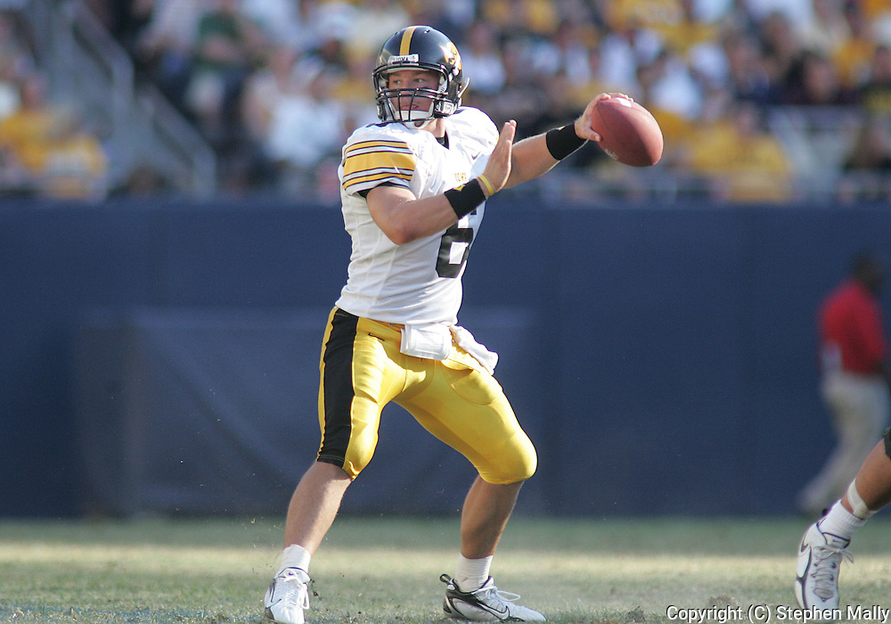 01 SEPTEMBER 2007: Iowa quarterback Jake Christensen (6) looks for an open receiver in Iowa's 16-3 win over Northern Illinois at Soldiers Field in Chicago, Illinois on September 1, 2007.