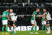 Derby County forward Martyn Waghorn (9) and Sheffield Wednesday midfielder Jacob Murphy (14) during the EFL Sky Bet Championship match between Derby County and Sheffield Wednesday at the Pride Park, Derby, England on 11 December 2019.