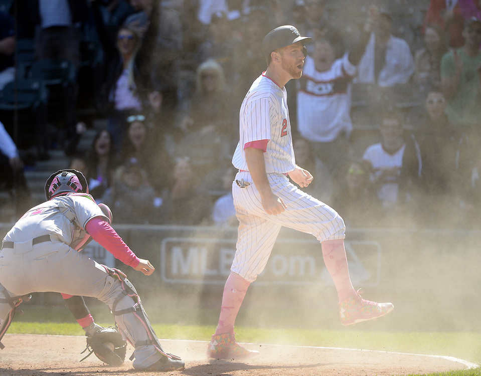 CHICGO - MAY 14:  Todd Frazier #21 of the Chicago White Sox reacts after sliding home safely in the eighth inning against the San Diego Padres on May 14, 2017 at Guaranteed Rate Field in Chicago, Illinois.  The White Sox defeated the Padres 9-3 .  (Photo by Ron Vesely)  Subject: Todd Frazier