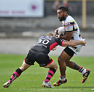 Manase Manuokafoa of Bradford Bulls and Nick Scruton of Wakefield Trinity Wildcats during the First Utility Super League match at Odsal Stadium, Bradford<br /> Picture by Richard Land/Focus Images Ltd +44 7713 507003<br /> 01/06/2014