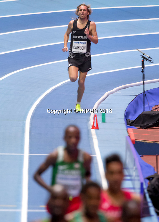 IAAF World Indoor Championships, Arena Birmingham, England 2/3/2018<br /> Men's 3000m<br /> New Zealand's Hamish Carson <br /> Mandatory Credit &copy;INPHO/Morgan Treacy / www.photosport.nz / www.photosport.nz