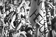 Crowd scene, at a rock concert, with flags, UK, 1980's