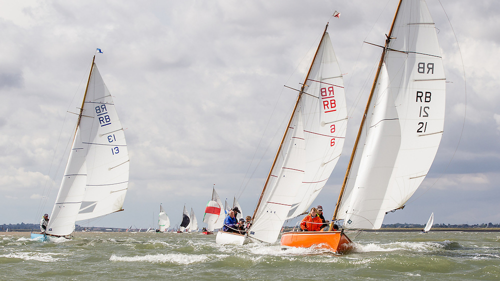 England, Burnham-on-Crouch. 25th August 2012. Burnham Week. Royal Burnham One Design fleet. L-R Quartz, RBOD13, Annette, RBOD6, Mandarin, RBOD21