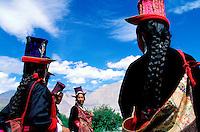"""Inde - Province du Jammu Cachemire -  Ladakh - Femme portant le chapeau traditionel """"Tibi"""""""