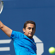 Nicolas Almagro, Spain, in action against Rafael Nadal, Spain, during the US Open Tennis Tournament at Flushing Meadows, New York, USA, on Sunday  September 6, 2009. Photo Tim Clayton.