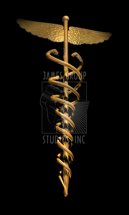 gold caduces on black