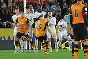 Shaun Maloney  takes free kick during the Capital One Cup match between Hull City and Swansea City at the KC Stadium, Kingston upon Hull, England on 22 September 2015. Photo by Ian Lyall.