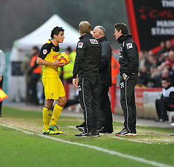 Watford's Marco Davide Faraoni has words  with Bournemouth  assistant Manager Jason Tindall- Photo mandatory by-line: Alex James/JMP - Tel: Mobile: 07966 386802 18/01/2014 - SPORT - FOOTBALL - Goldsands Stadium - Bournemouth - Bournemouth v Watford - Sky Bet Championship