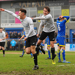 TELFORD COPYRIGHT MIKE SHERIDAN GOAL. Ryan Barnett of Telford celebrates after scoring to make it 1-0 during the Vanarama Conference North fixture between AFC Telford United and Alfreton Town at the New Bucks Head Stadium on Thursday, December 26, 2019.<br /> <br /> Picture credit: Mike Sheridan/Ultrapress<br /> <br /> MS201920-036