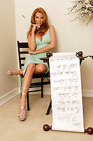 22 June 2005:  Angelica Bridges wife of Sheldon Souray of the Montreal Canadiens, poses in the bedroom with a 'Honey To Do List'  during The Not so Desperate, Desperate housewives shoot on location in Los Angeles with NHL hockey players wives for Editorial Use Only!  Mandatory Credit:  Shelly Castellano.com or Price Doubles.