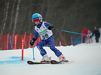 Ella Stevens charges the stubby slalom course on Sunday morning during the first annual Candy Man Cup with Gunstock Ski Club in honor of GSC's long time Coach Dan Wheeler.  (Karen Bobotas/for the Laconia Daily Sun)