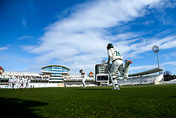 Ben Slater of Nottinghamshire and Ben Duckett of Nottinghamshire run out at Trent Bridge to face Yorkshire - Mandatory by-line: Robbie Stephenson/JMP - 05/04/2019 - CRICKET - Trent Bridge - Nottingham, England - Nottinghamshire v Yorkshire - Specsavers County Championship Division One