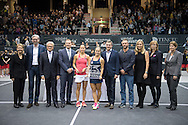 Viktorija Golubic (SUI) and Dominika Cibulkova (SVK) following the finals of the WTA Generali Ladies Linz Open at TipsArena, Linz<br /> Picture by EXPA Pictures/Focus Images Ltd 07814482222<br /> 16/10/2016<br /> *** UK &amp; IRELAND ONLY ***<br /> <br /> EXPA-REI-161016-5023.jpg