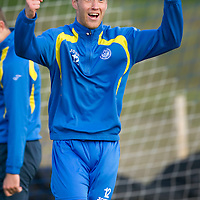 St Johnstone Training....24.09.10<br /> Steven Anderson celebrates winning a sprint race in training this morning ahead of tomorrows trip to Tannadice<br /> see story by Gordon Bannerman Tel: 07729 865788<br /> Picture by Graeme Hart.<br /> Copyright Perthshire Picture Agency<br /> Tel: 01738 623350  Mobile: 07990 594431