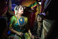 Lincroft, New Jersey, 9/20/14: Hema receives support backstage during her arangetram performance, as her mother wipes the sweat from her brow.