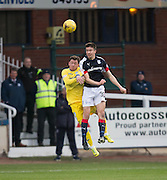 Dundee&rsquo;s Cammy Kerr oujumps St Johnstone&rsquo;s Danny Swanson - Dundee v St Johnstone in the Ladbrokes Scottish Premiership at Dens Park, Dundee - Photo: David Young, <br /> <br />  - &copy; David Young - www.davidyoungphoto.co.uk - email: davidyoungphoto@gmail.com