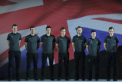 February 23, 2019 - Abu Dhabi, United Arab Emirates - Team SKY from UK, during the Team Presentation, at the opening ceremony of the 1st UAE Tour, inside Louvre Abu Dhabi museum..On Saturday, February 23, 2019, Abu Dhabi, United Arab Emirates... ELISSONDE Kenny, GOLAS Michal, HALVORSEN Kristoffer, KWIATKOWSKI Michal, MOSCON Gianni, PUCCIO Salvatore, SIVAKOV Pavel  (Credit Image: © Artur Widak/NurPhoto via ZUMA Press)