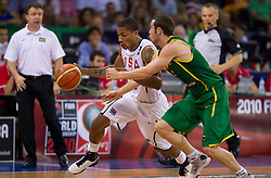 30.08.2010, Abdi Ipekci Arena, Istanbul, TUR, 2010 FIBA World Championship, USA vs Brasil, im Bild .Derrick Rose of USA vs Marcelo Huertas of Brasil during the Preliminary Round - Group B basketball match. EXPA Pictures © 2010, PhotoCredit: EXPA/ Sportida/ Vid Ponikvar *** ATTENTION *** SLOVENIA OUT!
