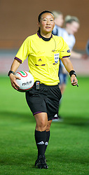 LLANELLI, WALES - Saturday, September 15, 2012: Referee Jenny Palmqvist during the UEFA Women's Euro 2013 Qualifying Group 4 match at Parc y Scarlets. (Pic by David Rawcliffe/Propaganda)