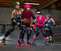 Arizona Derby Girls scrimmage. Arizona Derby Dames practice their skills before an upcoming match in Phoenix, AZ