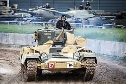 "A T67003 Valentine Mark IX tank, drives around the tank course at the Tank Museum in Bovington, Dorset, as the attraction hosts ""Tiger Day"" to mark the 75th anniversary of the world's only working Tiger Tank's capture in 1943 in the Tunisian desert."