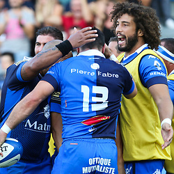 Thomas Combezou and Camille Gerondeau of Castres during Top 14 match between Castres and Lyon Lou on September 1, 2018 in Castres, France. (Photo by Laurent Frezouls/Icon Sport)