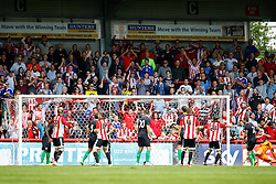 Goal, Stuart Dallas of Brentford scores, Brentford 2-0 Stoke City - Mandatory by-line: Jason Brown/JMP - Mobile 07966 386802 25/07/2015 - SPORT - FOOTBALL - Brentford, Griffin Park - Brentford v Stoke City - Pre-Season Friendly