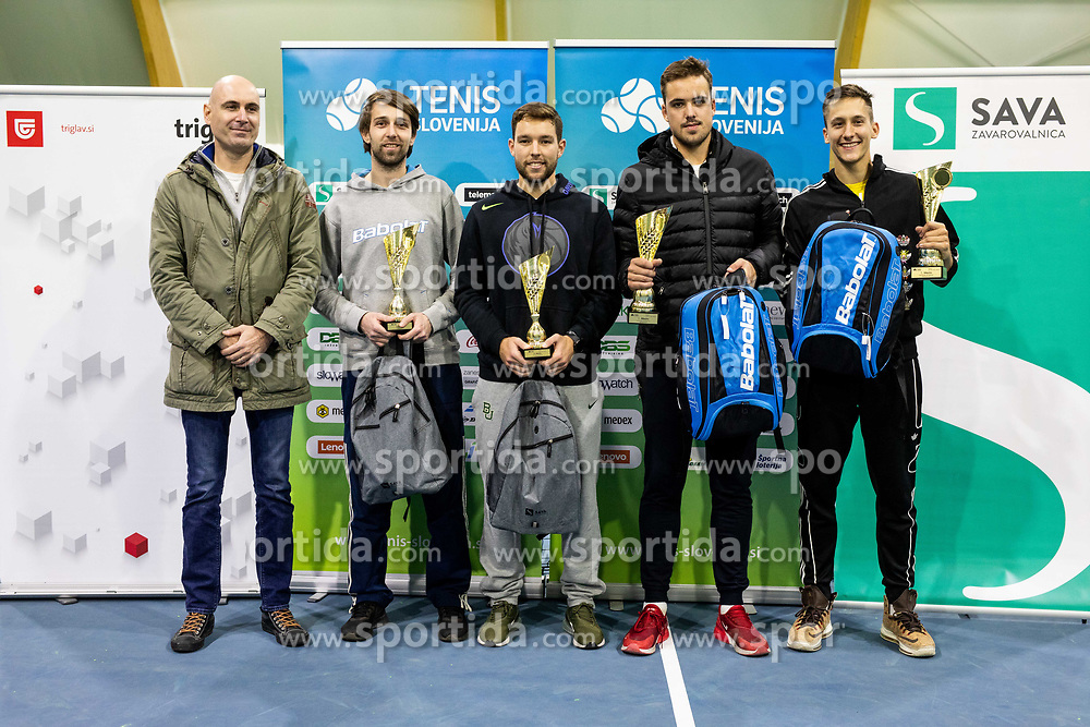 Second placed Toni Hazdovac and Sven Lah and winners Aljaz Jakob Kaplja and Bor Muzar Schweiger at trophy ceremony after final match during Slovenian men's doubles tennis Championship 2019, on December 29, 2019 in Medvode, Slovenia. Photo by Vid Ponikvar/ Sportida