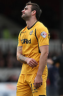 Andy Sandell of Newport County expresses his frustration. Skybet football league 2 match, Newport county v Cheltenham Town at Rodney Parade in Newport, South Wales on Saturday 22nd Feb 2014.<br /> pic by Mark Hawkins, Andrew Orchard sports photography.