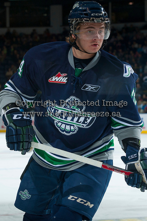 KELOWNA, CANADA -FEBRUARY 10: Alexander Delnov #24 of the Seattle Thunderbirds skates against the Kelowna Rockets on February 10, 2014 at Prospera Place in Kelowna, British Columbia, Canada.   (Photo by Marissa Baecker/Getty Images)  *** Local Caption *** Alexander Delnov;