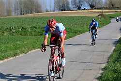 The 2nd group with Nils Politt (GER) Katusha Alpecin and Jasha Sutterlin (GER) Movistar Team descend off Paterberg during the 2019 E3 Harelbeke Binck Bank Classic 2019 running 203.9km from Harelbeke to Harelbeke, Belgium. 29th March 2019.<br /> Picture: Eoin Clarke | Cyclefile<br /> <br /> All photos usage must carry mandatory copyright credit (© Cyclefile | Eoin Clarke)