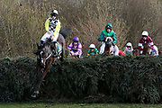 Pleasant Company leads the field over Canal Turn on the second circuit of The Randox Health Grand National on Grand National Day at at Aintree, Liverpool, United Kingdom on 14 April 2018. Picture by Craig Galloway.