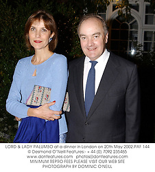 LORD & LADY PALUMBO at a dinner in London on 20th May 2002.PAF 144
