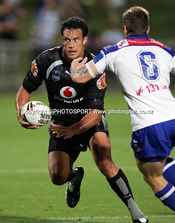 Warriors Logan Swann in action during the preseason NRL match between the Vodafone Warriors and Bulldogs held at Albany Stadium, Auckland, on Saturday 3 March 2007. Photo: Renee McKay/PHOTOSPORT
