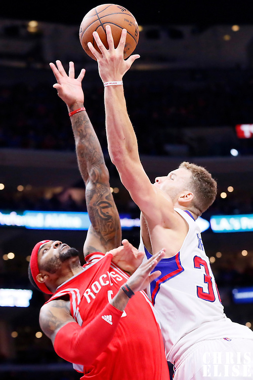 14 May 2015: Houston Rockets forward Josh Smith (5) goes for the block on Los Angeles Clippers forward Blake Griffin (32) during the Houston Rockets 119-107 victory over the Los Angeles Clippers, in game 6 of the Western Conference semifinals, at the Staples Center, Los Angeles, California, USA.