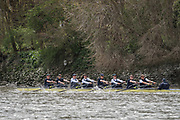 London, UK. 04 April 2019.  Oxford and Cambridge Universities Blue Crews undertake Practice Outings in preparation for this Sunday's Boat Race.<br /> Pictured: Oxford University Boat Club (OUBC) Blue Crew.<br /> Credit: Duncan Grove FRPS/Alamy Live News.