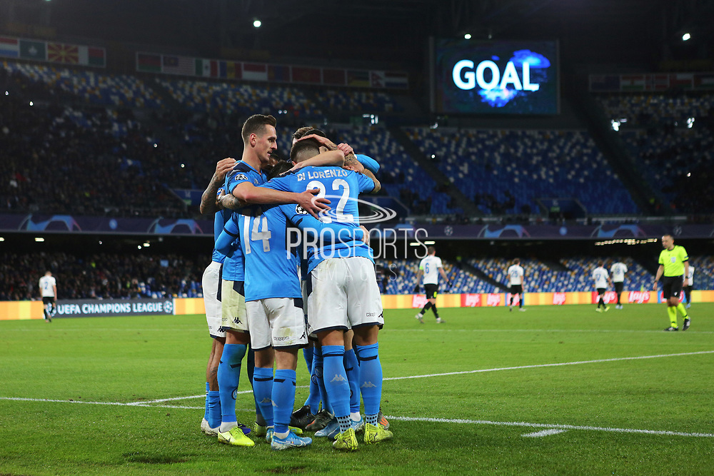 Dries Mertens of Napoli celebrates after scoring 4-0 goal by penalty, with his teammates during the UEFA Champions League, Group E football match between SSC Napoli and KRC Genk on December 10, 2019 at Stadio San Paolo in Naples, Italy - Photo Federico Proietti / ProSportsImages / DPPI