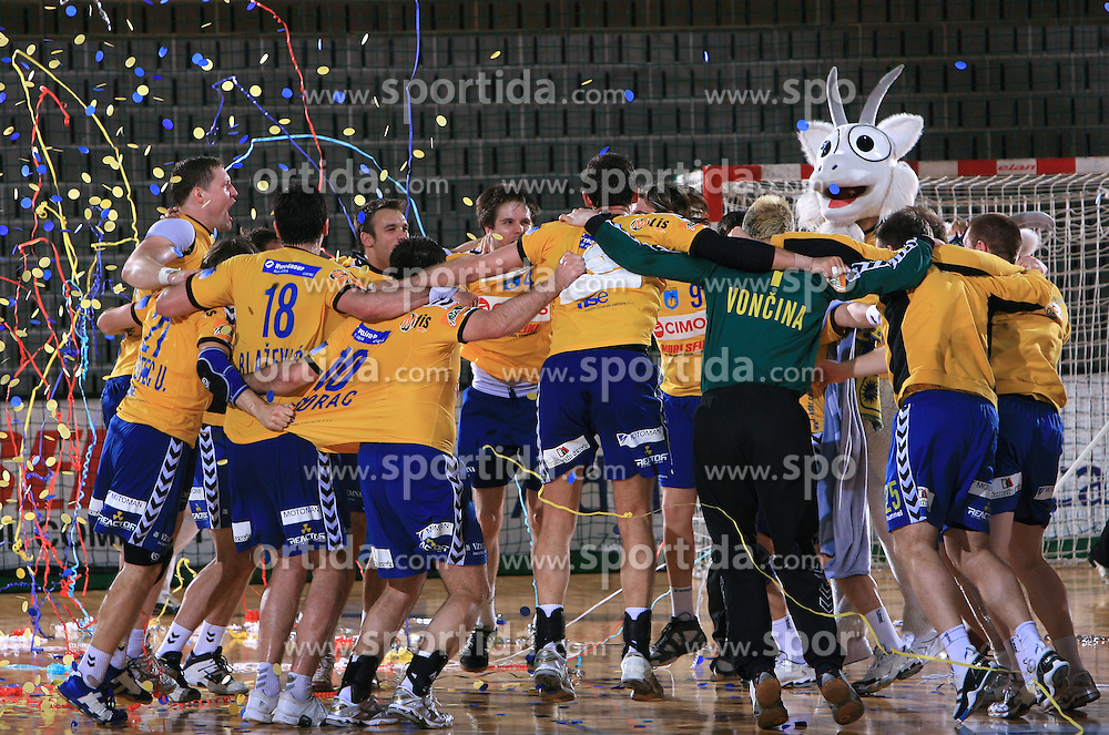 Players of Cimos Koper celebrate at Men Slovenian Handball Cup, final match between RK Cimos Koper and RK Celje Pivovarna Lasko, on April 19, 2009, in Arena Bonifika, Koper, Slovenia. Cimos Koper won 24:19 and became Slovenian Cup Champion. (Photo by Vid Ponikvar / Sportida)