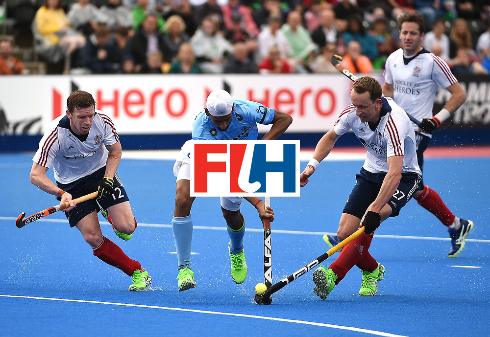 LONDON, ENGLAND - JUNE 11:  Mandeep Singh of India in action during day two of the FIH Men's Hero Hockey Champions Trophy 2016 match between India and Great Britain at Queen Elizabeth Olympic Park on June 11, 2016 in London, England.  (Photo by Tom Dulat/Getty Images)