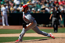 OAKLAND, CA - AUGUST 04:  John Brebbia #60 of the St. Louis Cardinals pitches against the Oakland Athletics during the sixth inning at the RingCentral Coliseum on August 4, 2019 in Oakland, California. The Oakland Athletics defeated the St. Louis Cardinals 4-2. (Photo by Jason O. Watson/Getty Images) *** Local Caption *** John Brebbia