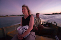 Taking the speedboat in the middle of the night under a full moon to look for turtle nests on a remote Cape York beach outside of Mapoon..