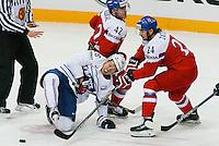 Damien Raux / Martin Zatovic - 07.05.2015 - Republique Tcheque / France - Championnat du Monde de Hockey sur Glace <br /> Photo : Xavier Laine / Icon Sport