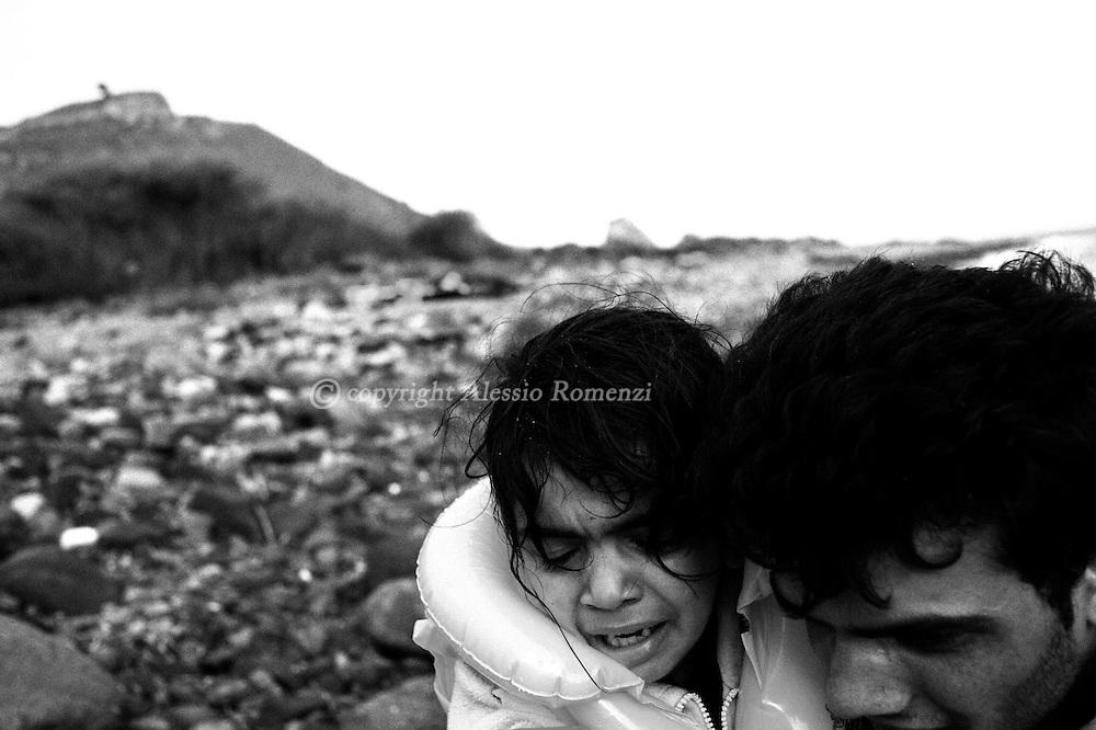 Greece, Lesbos: Syrian asylum seekers arrive on the shore of Lesbos Island. Alessio Romenzi