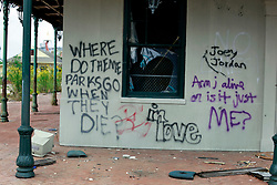 17 October 2013. Abandoned Six Flags, New Orleans, Louisiana. <br /> Graffiti tagged on the walls of the abandoned amusement park.<br /> Photo; Charlie Varley