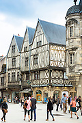 Traditional timber-frame Tudor style buildings in Rue de la Liberte in medieval Dijon in Burgundy region, France