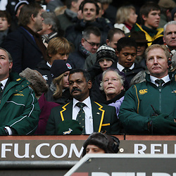LONDON, ENGLAND - NOVEMBER 27,Gary Gold assistant coach with Peter de Villiers Head Coach and Dick Muir assistant coach  during the End of Year tour match between England and South Africa at Twickenham Stadium on November 27, 2010 in London, England<br /> Photo by Steve Haag / Gallo Images